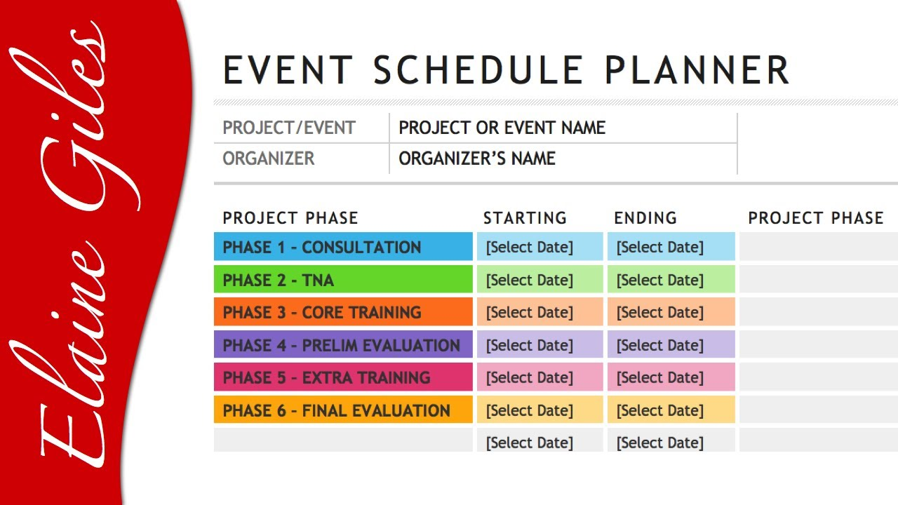 wedding planning schedule template - microsoft word 2013 schedule template youtube