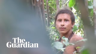 Footage of uncontacted tribesman in the Amazon rainforest