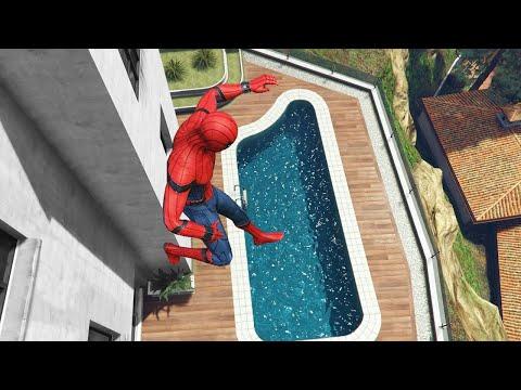GTA 5 Water Ragdolls | SPIDERMAN Jumps/Fails Ep.55 (Flooded Los Santos)