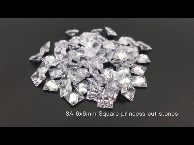 3A Quality Cubic Zirconia White Clear 6x6mm Square Princess cut CZ Gemstones
