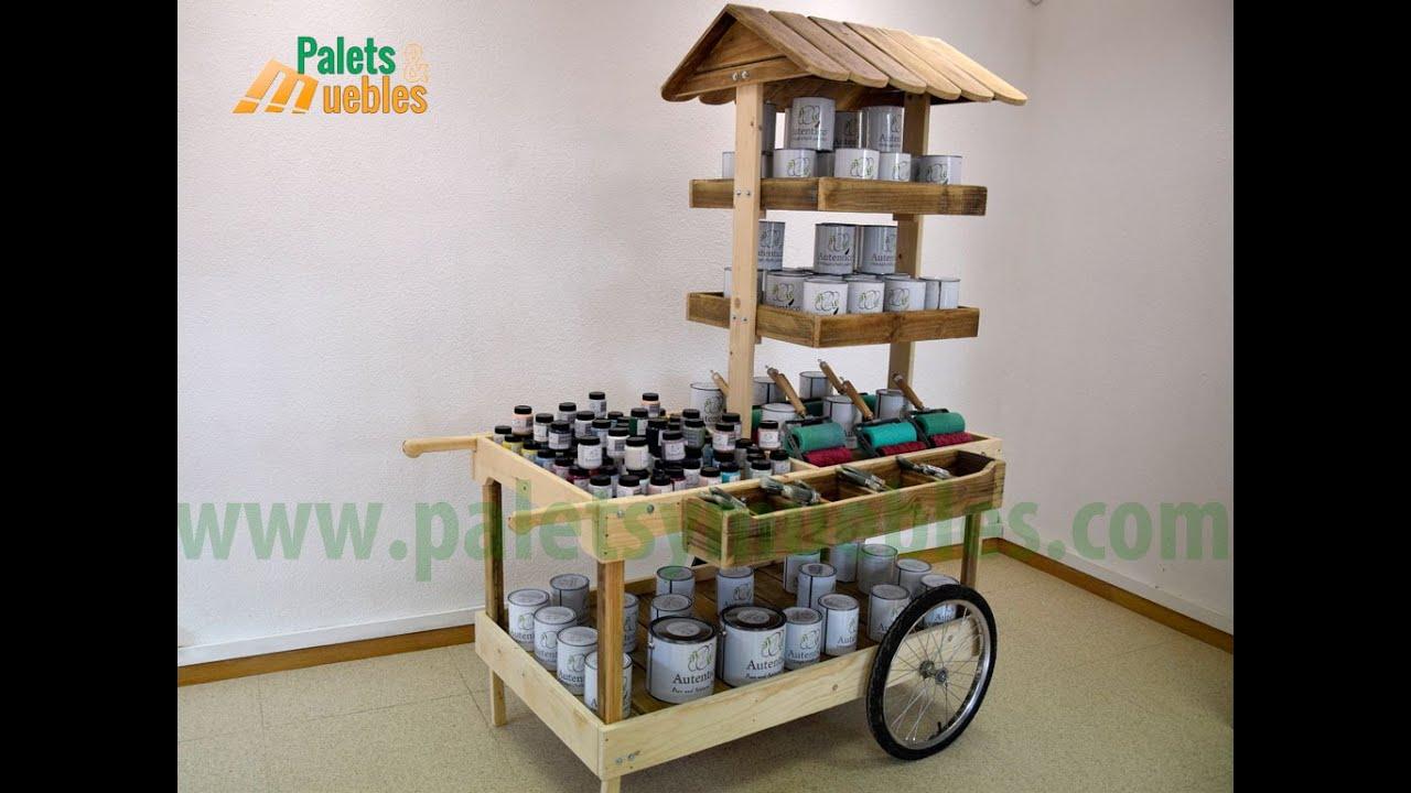 Palets y muebles carrito para eventos desmontable youtube - Comprar muebles con palets ...