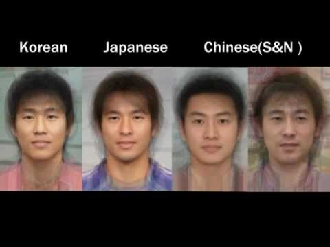 Average faces of different Asian nationalities