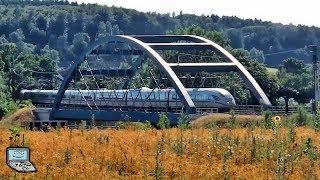 Hösbach mit modus-Wagen +Mitfahrt, BR 111 und ICEs u.a. an der Autobahn-Brücke