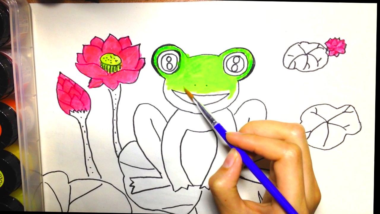 drawing Frogs on lotus leaf, coloring Frogs on lotus leaf for ...
