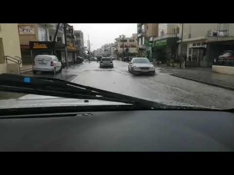 Πλημμυρισμένοι δρόμοι στην είσοδο της Πάφου 14:30, 15/9/2019
