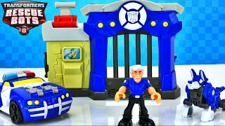 NEW TRANSFORMERS RESCUE BOTS GRIFFIN ROCK POLICE STATION AND CHASE THE POLICE BOT