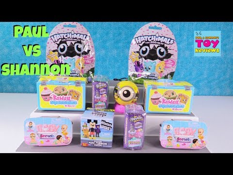 Paul vs Shannon Blind Bag Challenge Baby Secrets Kawaii Squeezies Shopkins | PSToyReviews