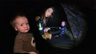 BACKYARD TENT!! First Time Camping with Adley and Baby Niko! Smores routine by the Camp Fire  🔥 🍫