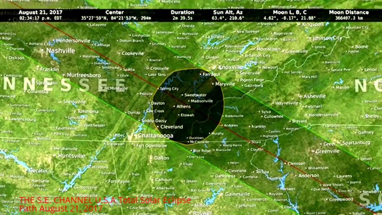 USA Total Solar Eclipse Path August YouTube - Map of solar eclispe us 2017