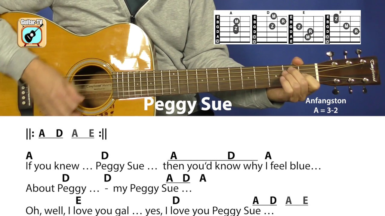 Peggy Sue   Buddy Holly, Chords & Lyrics, Beginner Guitar Lesson