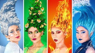 Fire Girl, Water Girl, Air Girl and Earth Girl / Four Elements Beauty Hacks!