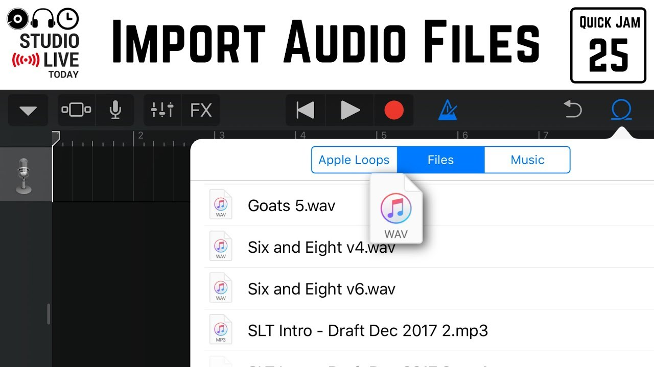 How to import audio files in GarageBand iOS (iPhone/iPad)