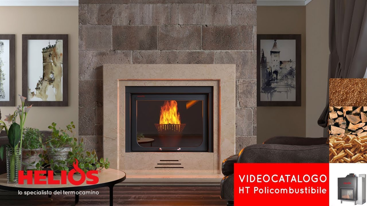Caminetto O Termocamino Mutifuel Wood Burner Fireplace Ht Wood Pellet Nut Shell Helios Tecnologie