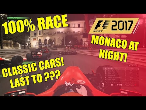 MONACO AT NIGHT IN CLASSIC F1 CARS 100% RACE | F1 2017 GAMEPLAY