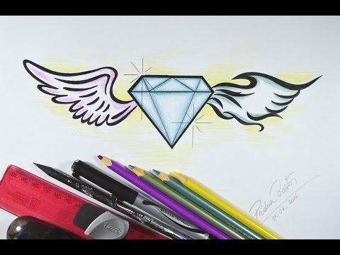 Como Desenhar Diamante Com Asas Passo A Passo