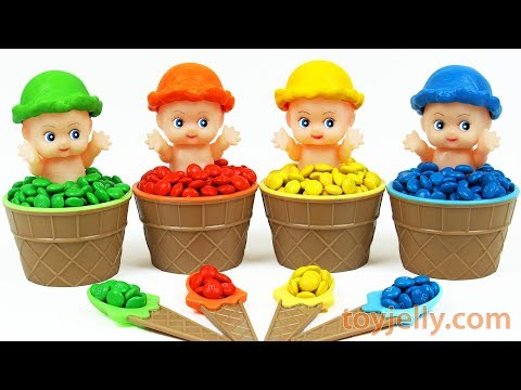 Super Kinder Joy Baby Doll M&M's Ice Cream Cup Surprise Toys Learn Baby Finger Color Song for Kids