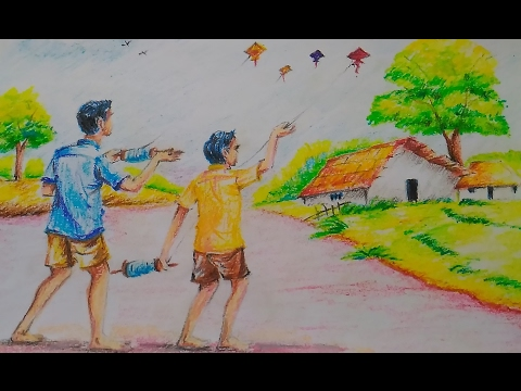 Easy Kite Flying Composition For Kids Drawing Tutorial Youtube