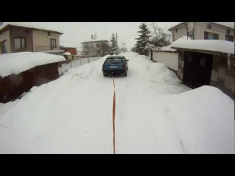 drifting and snowboard in the streets of a Bulgarian village
