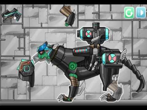 Мультики роботы динозавры - Дино робот - Dino robot - Собрать робота динозавра