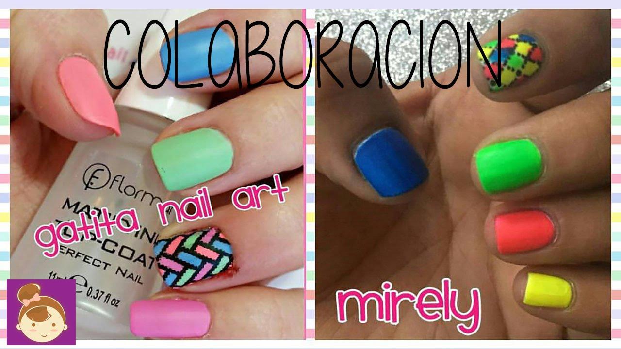 Diseño de uñas de Colores Neon/ Diseño de uñas cortas ...
