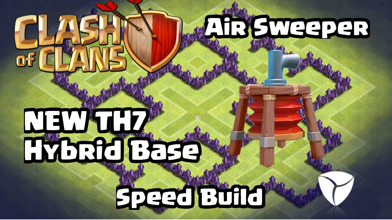 Clash of clans th7 best hybrid base defense with new air sweeper 2015