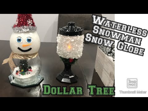 Dollar Tree Waterless Snowman Snow Globe/ Dollar Tree Fish Bowl Snowman/ Christmas Decor Diy Ideas