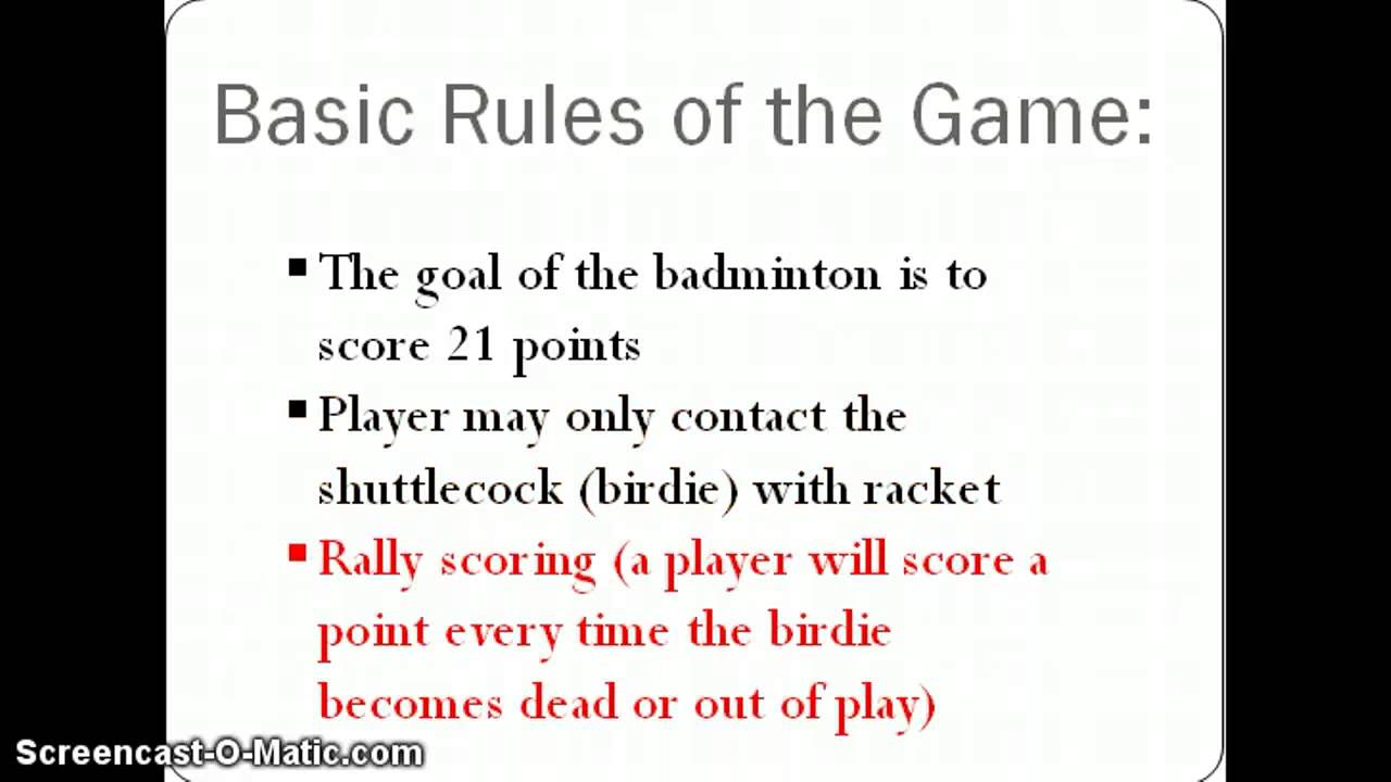 bedminton rules