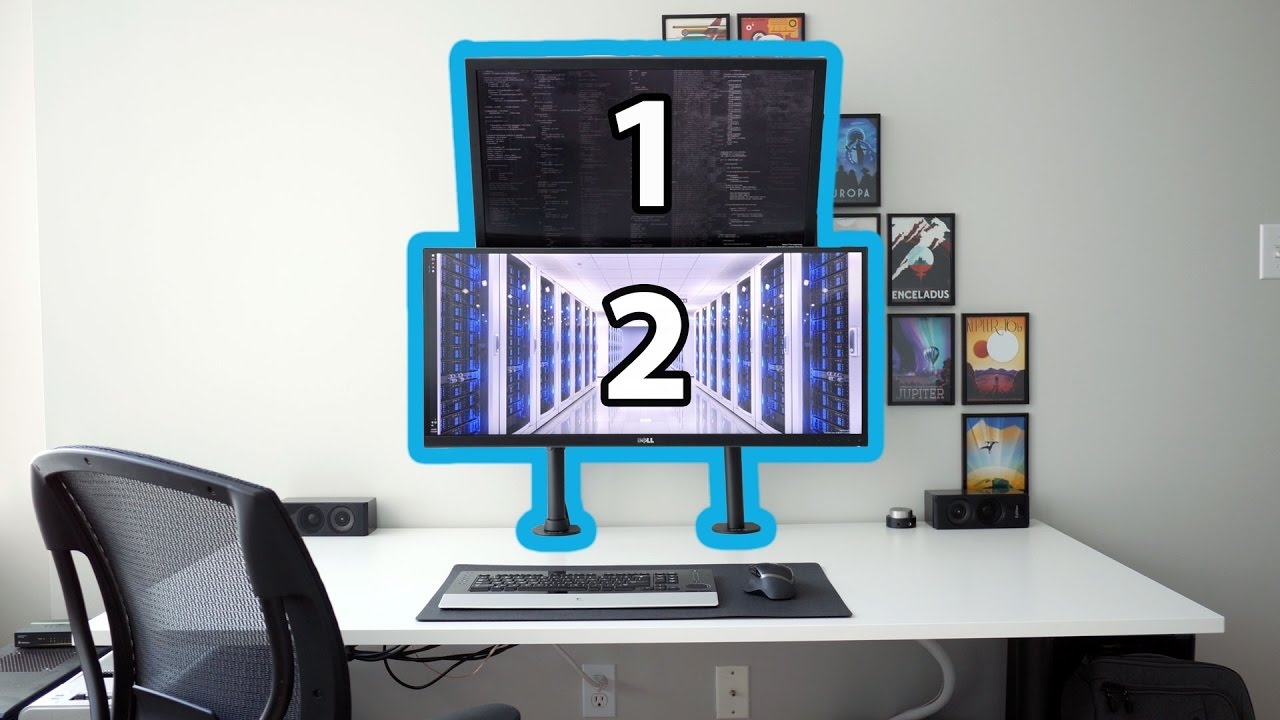 Stacked Dual Monitors Using Vivo Arm Mounts Youtube
