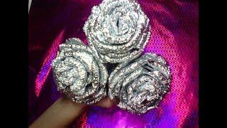 DIY Розы из фольги COMO HACER FLORES DE PAPEL ALUMINIO
