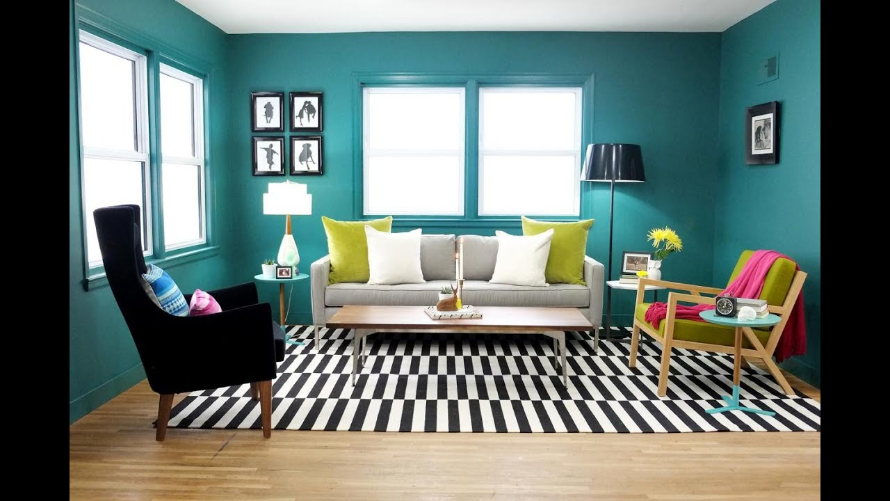 Teal living room design youtube for Teal blue living room ideas