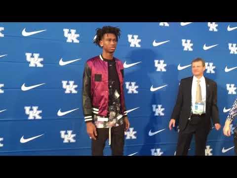 Kentucky basketball players walk the blue carpet