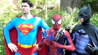 SPIDER-MAN vs SUPERMAN BATMAN WONDER WOMAN - Toy Battle! Real Life Superhero Movie - TheSeanWardShow thumbnail