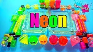 Mezclando todo Neon en Slime (Rosa y Naranja vs Verde y Amarillo) - Supermanualidades