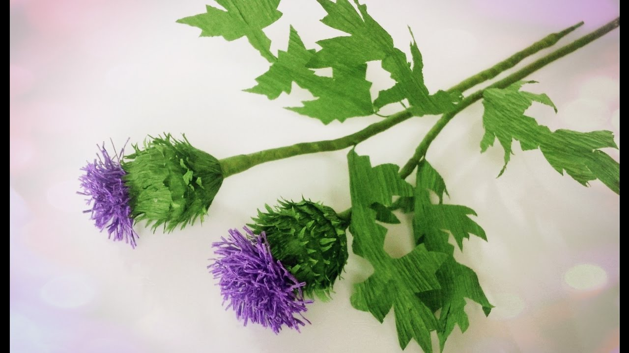 How To Make Thistle Flower From Crepe Paper Craft Tutorial Youtube
