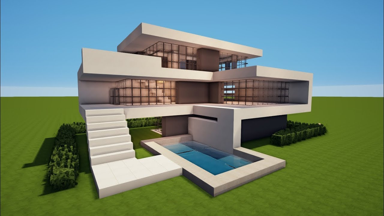 Grosses Modernes Minecraft Haus Mit Pool Bauen Tutorial Haus 73
