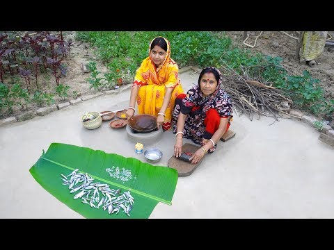 Cooking Mixed River Rare Fish Recipes in village style | Unique recipe of Different River tiny fish
