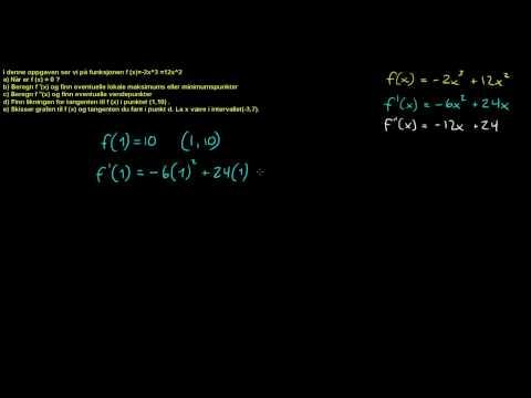 Forespørsel - Funksjonsdrøfting 1d - Finne likningen til tangenten i et punkt