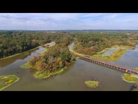 Train Trestle, Neches River in Chandler, TX via drone