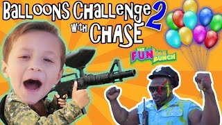 CHASE & PAPA CANDY BALLOON GUN CHALLENGE w/ OFFICE BUFF AND THE FUNKEE BUNCH!!!