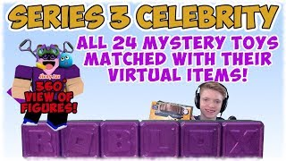 Roblox Celebrity Series 3 Mystery Blind Box Toys: Showing Figures Plus Toy Code Virtual Items.