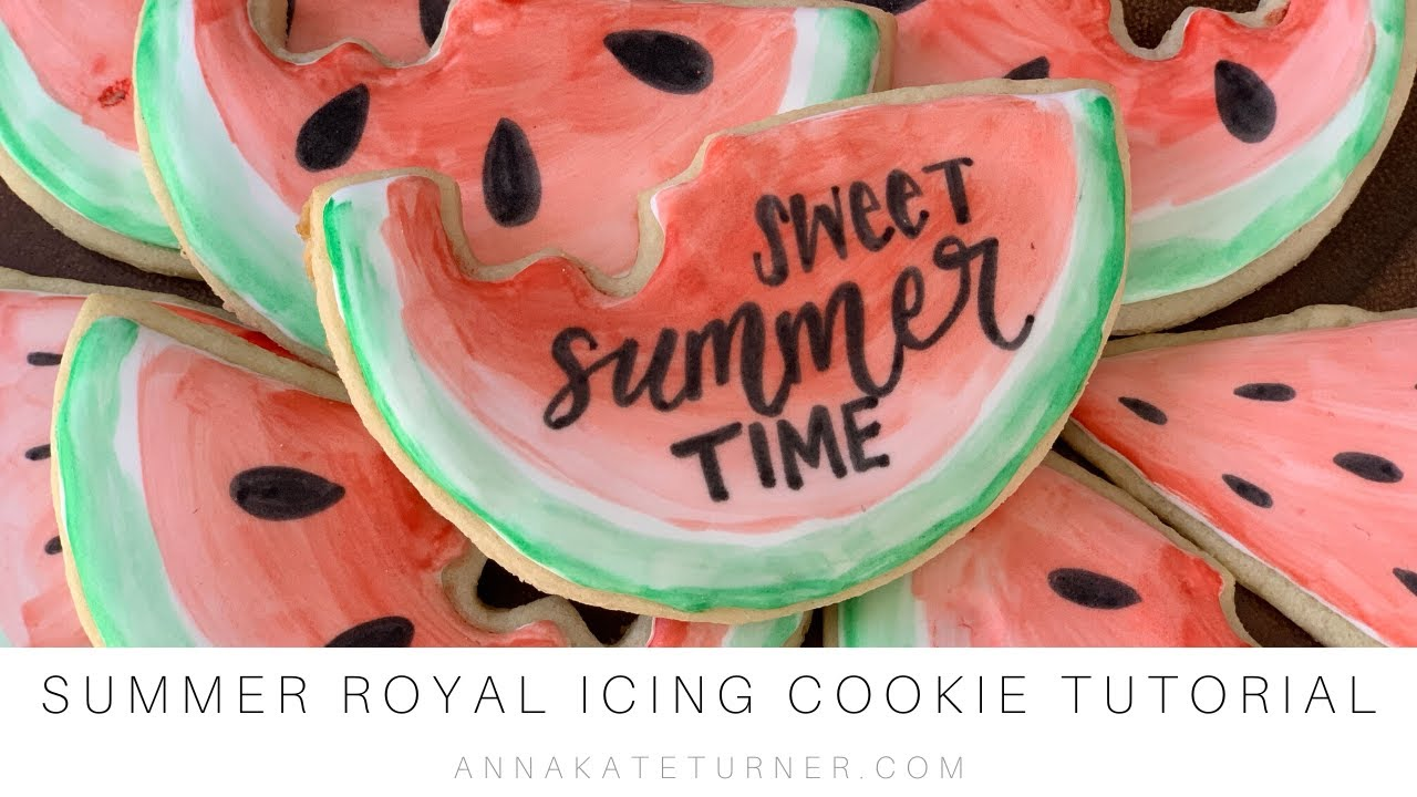 How To Paint Royal Icing Summer Watermelon Cookies With Gel Food Coloring Summer Sugar Cookie Diy Youtube