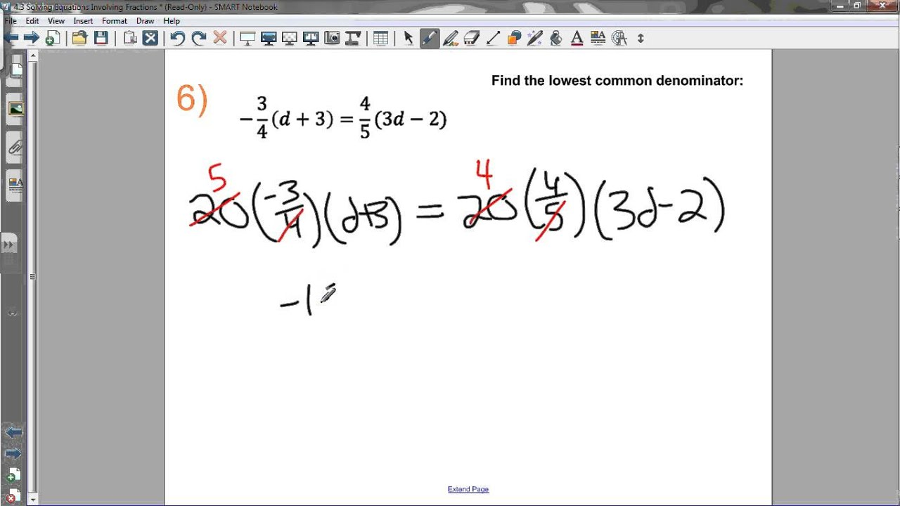 43 SOLVING EQUATIONS INVOLVING FRACTIONS YouTube – Solving Equations with Fractions Worksheets