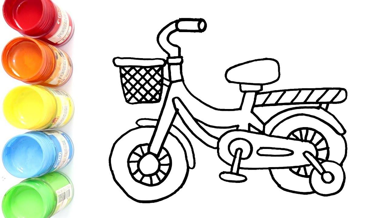 Cara Menggambar Dan Mewarnai Sepeda Anak Bagus