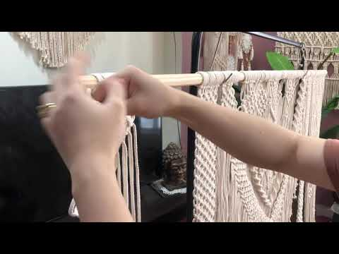tutorial Macrame go into the wooden rod