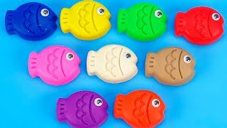 Learn Colors with 9 Color Play Doh Fish and Farm Animals Molds