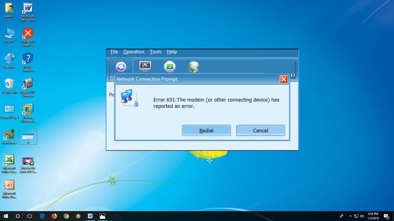How to Fix Error 651 The Modem has reported an Error In Windows 7/8/10