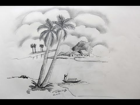 How to draw a village scenery Step by step   Pencil Sketch thumbnail