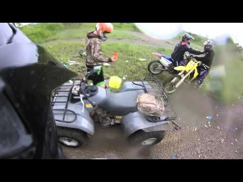 Dirt bike group ride on rainy day at newtonville ontario