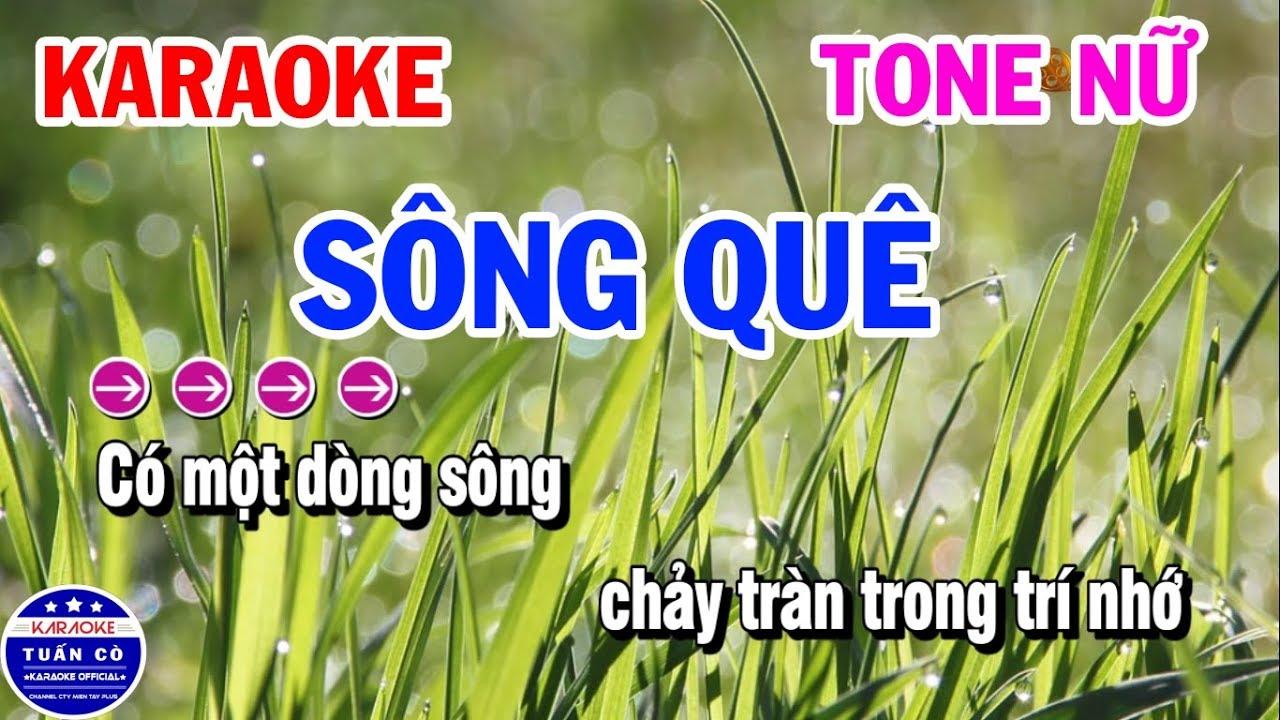 Karaoke Sông Quê Nhạc Sống Tone Nữ | Karaoke Tuấn Cò