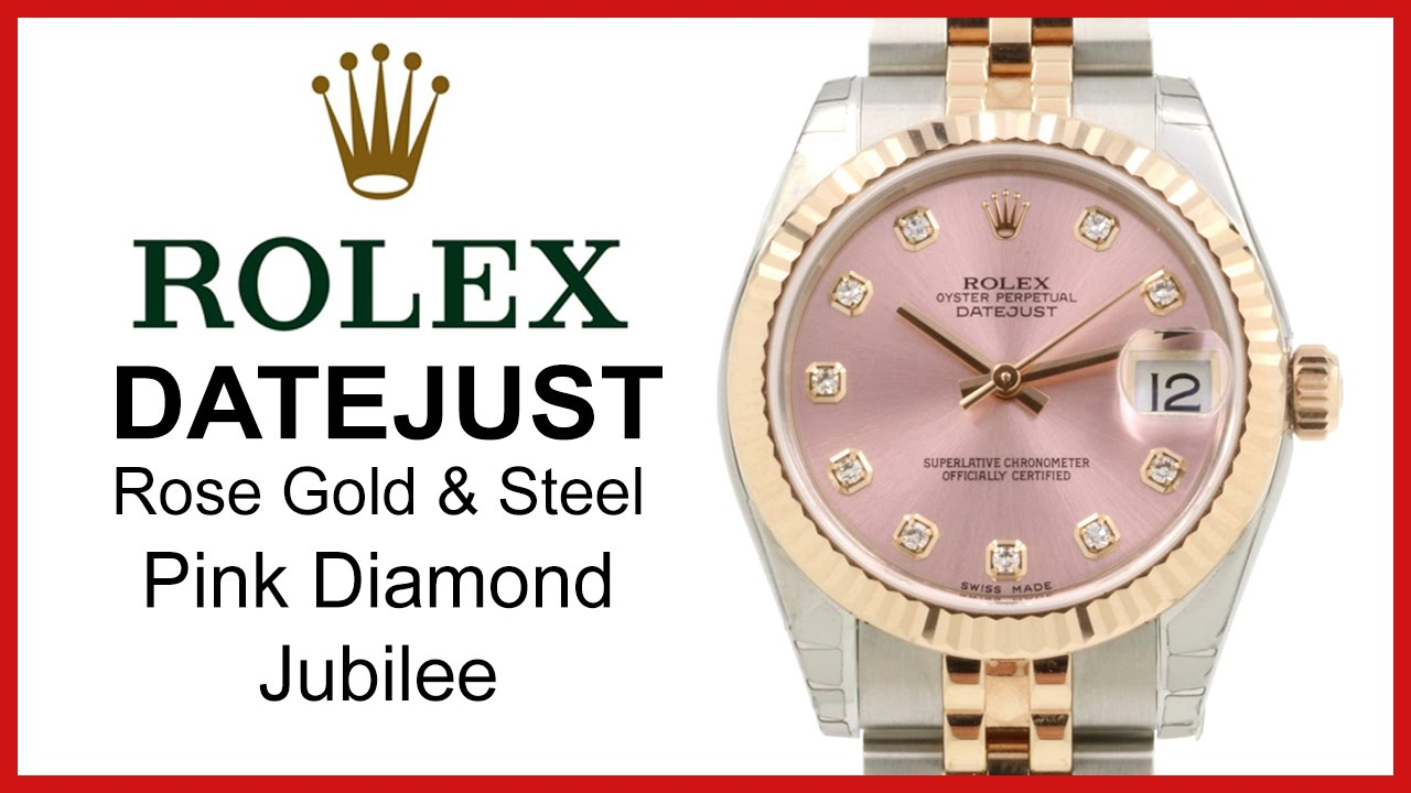 ▶ Rolex Datejust 31 Pink Diamond Dial REVIEW 18k Rose Gold \u0026 Stainless  Steel Jubilee , 178271